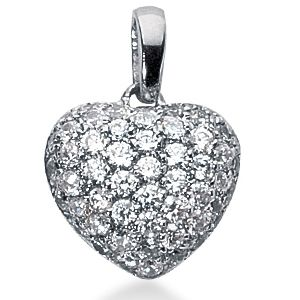 3.00 Carat Diamond Fancy Heart Pendant 14K white gold
