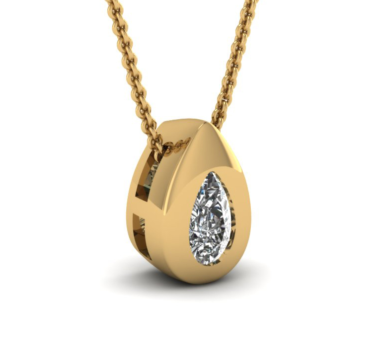 Diamond Pendant 0.50 Carat (SI1/D) 14K yellow gold + GIA