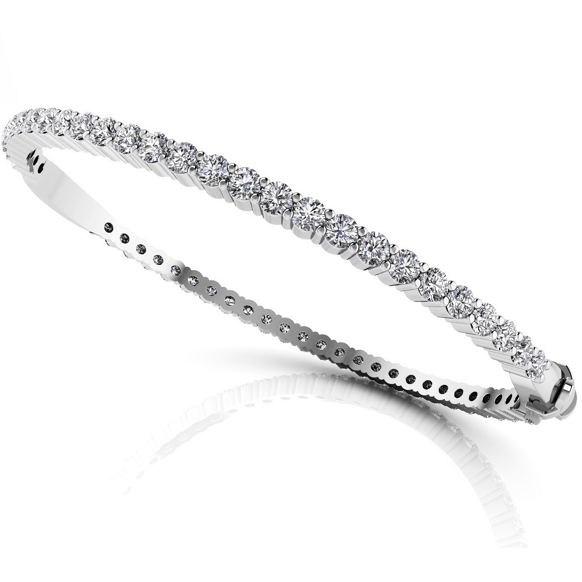 Diamond Bangle 3.25 Carat Brilliants 18K white Gold