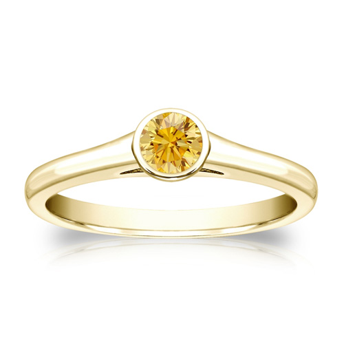0.25 Quilates Diamante amarillo Anillo Solitarios 14k amarillo