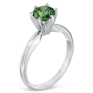 0.25 Quilates Diamante verde Anillo Solitarios 14k blanco
