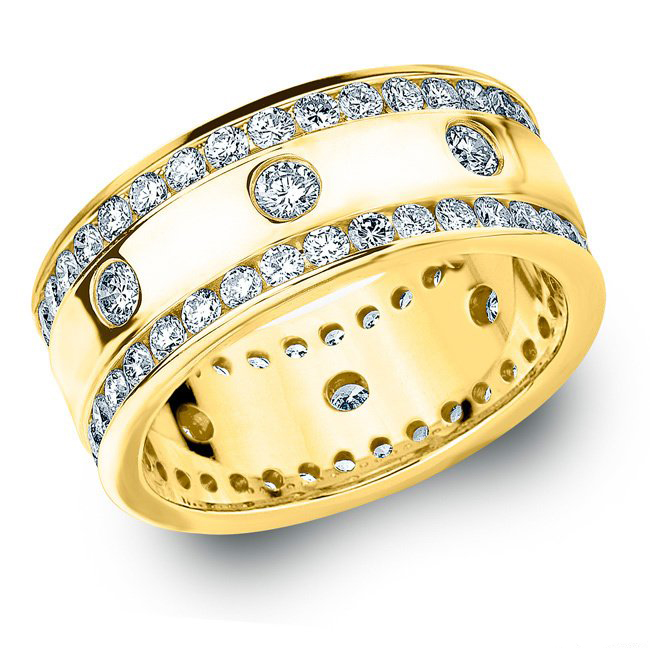 2.00 CT ROUND WHITE DIAMOND MEN'S RING YELLOW GOLD