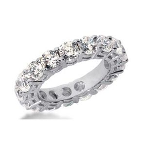 DIAMOND ETERNITY BAND RING 4.00 CARAT 14K WHITE GOLD