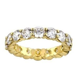 DIAMOND ETERNITY BAND RING 4.00 CARAT 14K YELLOW GOLD