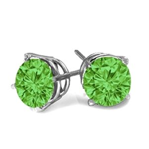 0.50 Ct. Green Diamond Earstuds - 14 K white gold