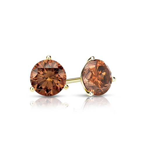 0.50 Ct. Cognac Diamond Earstuds - 14K yellow gold