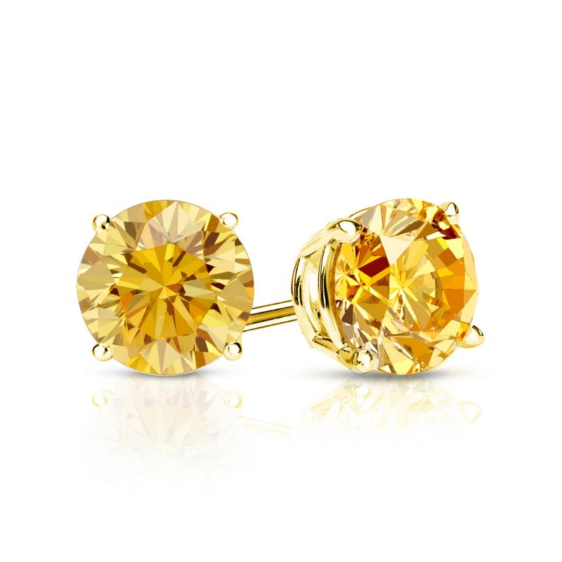 Pendiente de diamante amarillo 0.25 Quilates - 14K ORO