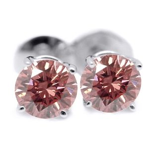 0.50 Ct. Pink Diamond Earstuds - 14K white gold