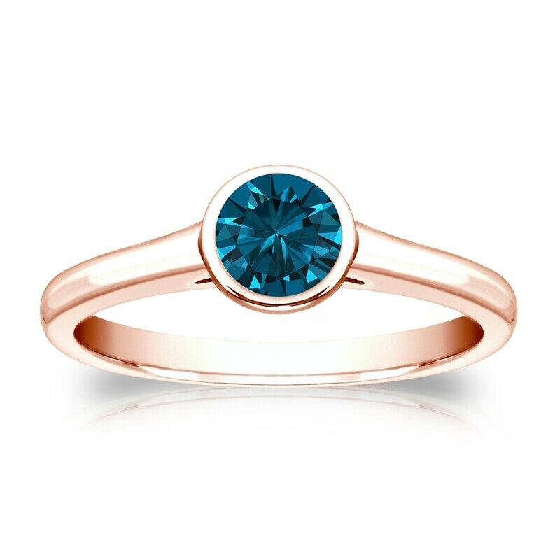 Solitaire 0.50 Ct. Bleu Diamant Bague de Or rose 14K