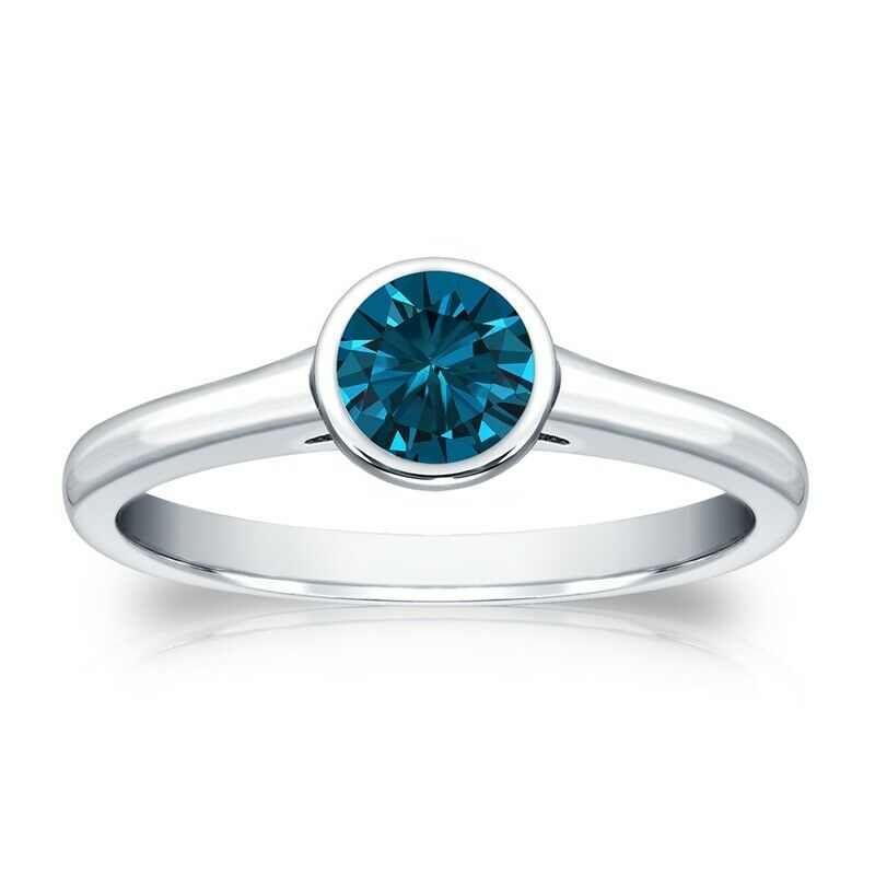 Solitaire 0.50 Ct. Bleu Diamant Bague de Or blanc 14K