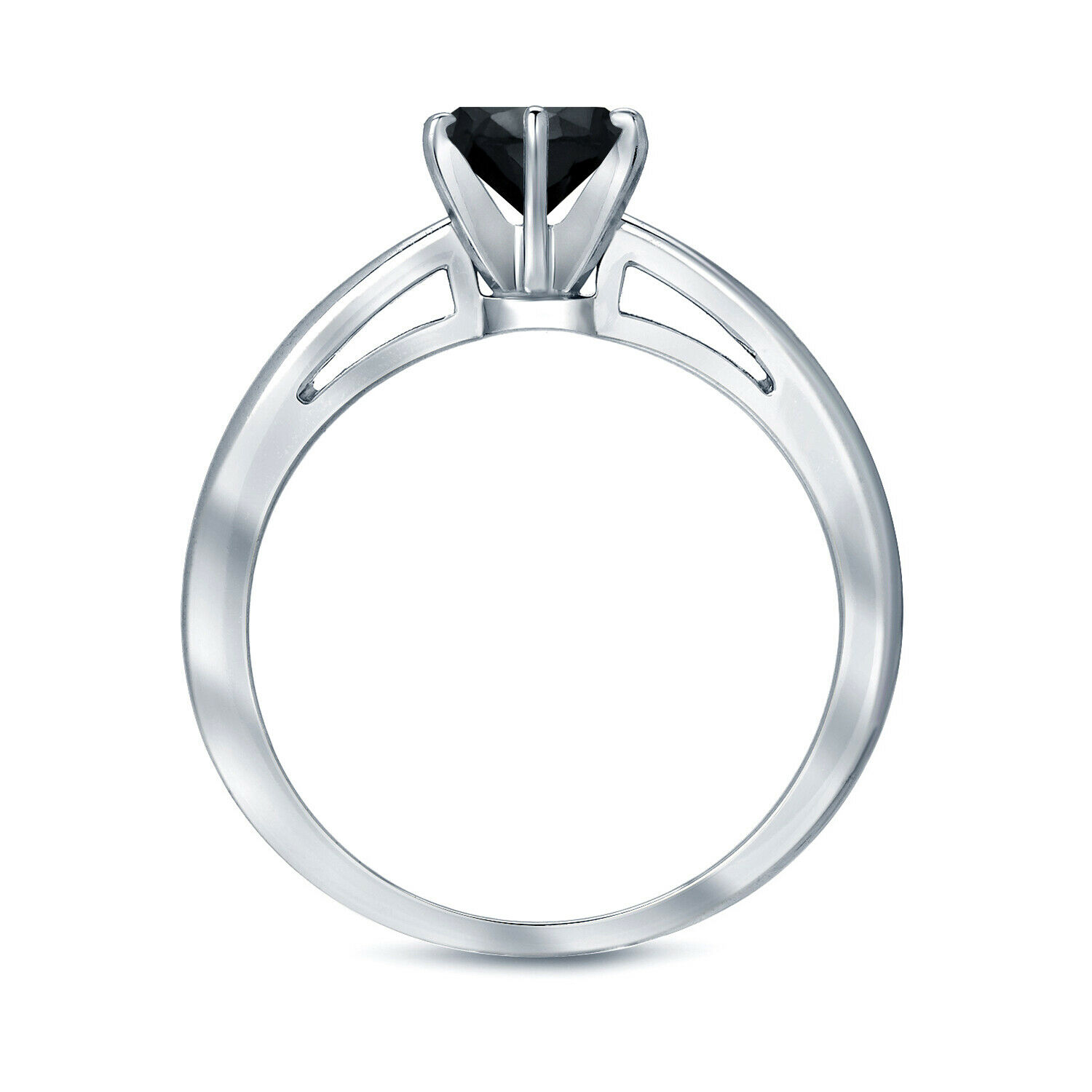 0.25 CT BLACK DIAMOND ENGAGEMENT RING 14K WHITE GOLD