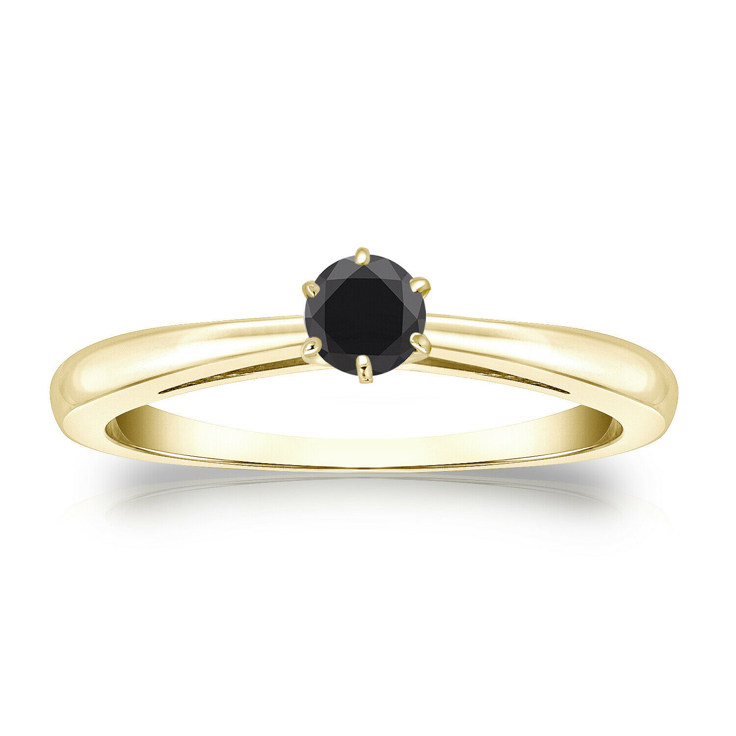 0.25 CT BLACK DIAMOND ENGAGEMENT RING 14K YELLOW GOLD