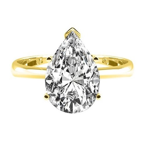 DIAMOND ENGAGEMENT RING 1.00 Ct. D/SI1 PEAR CUT 14K YELLOW GOLD