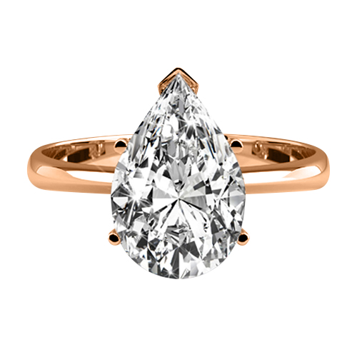 DIAMOND ENGAGEMENT RING 1.00 Ct. D/SI1 PEAR CUT 14K ROSE GOLD