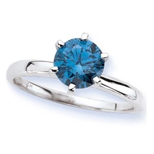 Solitaire 1.00 Ct. Bleu Diamant Bague de Or blanc 14K Bleu VS