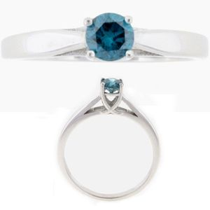 Solitaire Diamant Bague de Or blanc 14K - 0.06 Ct. Bleu Diamant