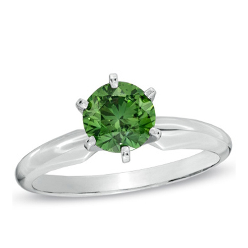 1/2 CT GREEN DIAMOND ENGAGEMENT RING 14K GOLD