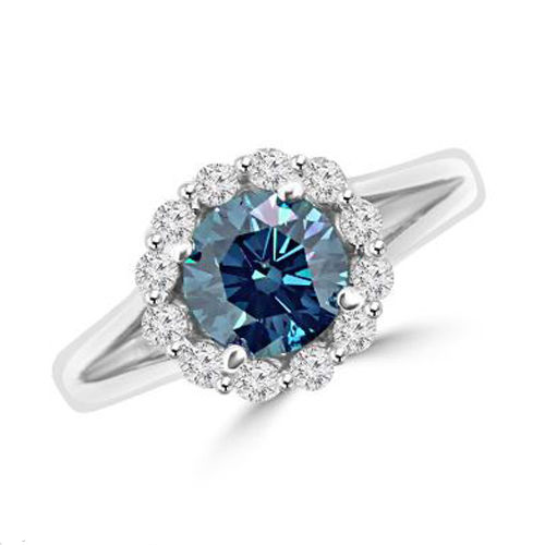1.50 CT ROUND BLUE DIAMOND 18K GOLD RING