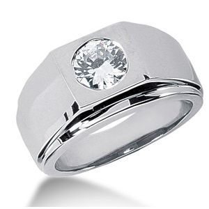 1.00 CT ROUND DIAMOND 14K WHITE GOLD MEN'S RING