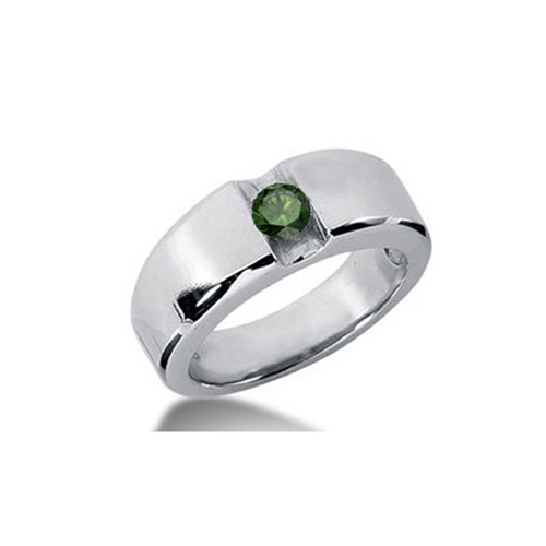 0.50 Carat Grand Vert Diamant Bague 14K Or blanc