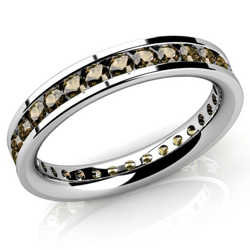 Bague en diamant d'eternite en or blanc 14K diamants 2.00 carats