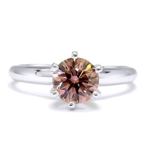 0.80 Quilates Diamante rosado Anillo Solitarios 14k blanco
