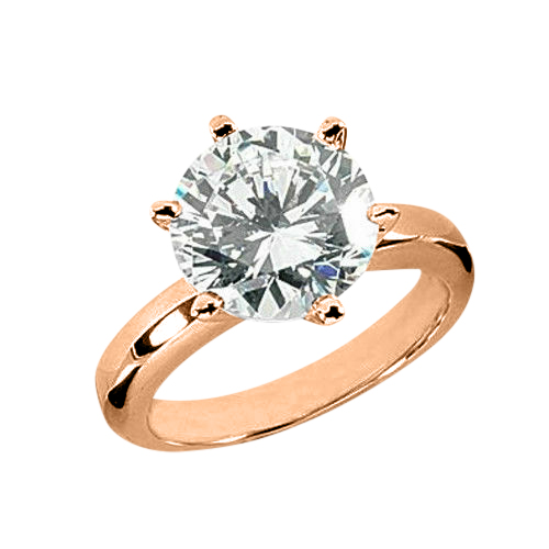 Solitaire 0.25 Ct. Blanc Diamant Bague de Or rose 14K F/VS
