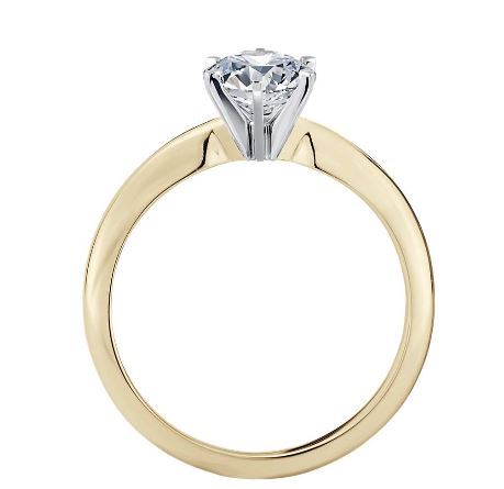 0.50 Ct. Diamante Anillo 14k oro amarillo D/VS1 + certific. GIA