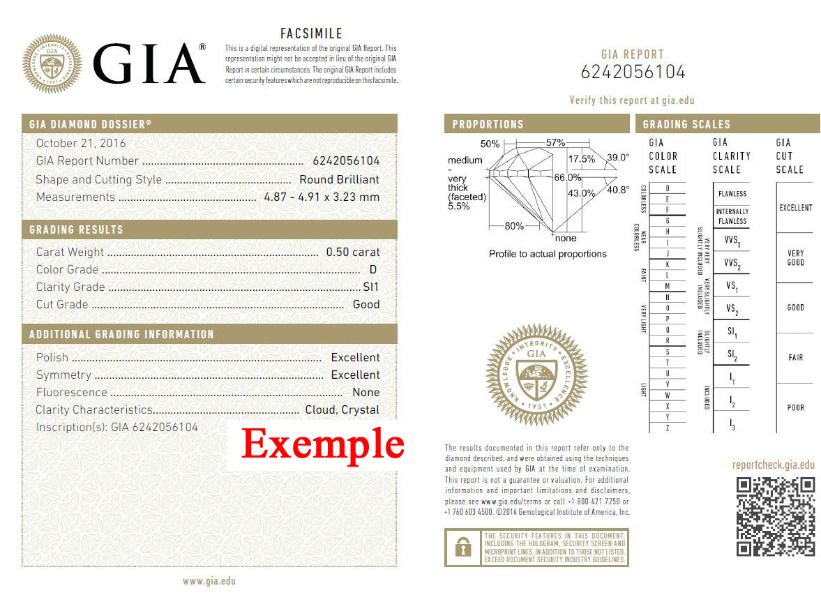 Gia Certificate Exemple D/SI1 Brillant
