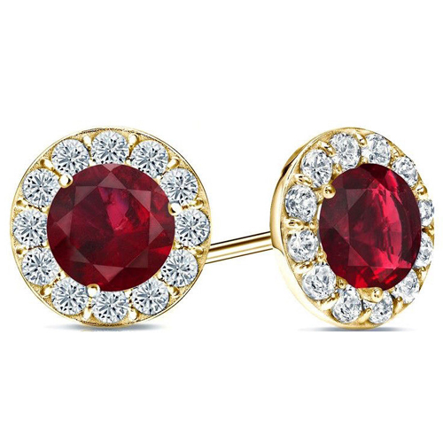 2.60 carats Rubis Boucles d'oreilles diamants - Or jaune 14 ct