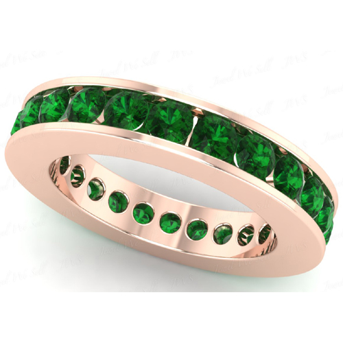 2.40 carat Eternity Emerald Ring 18K rose gold