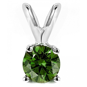 0.50 Carat green Diamond 14K white gold Pendant