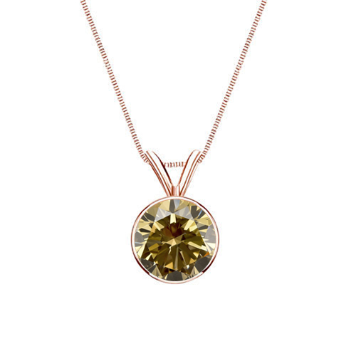 0.50 Carat champagner Diamond 14K rose gold Pendant