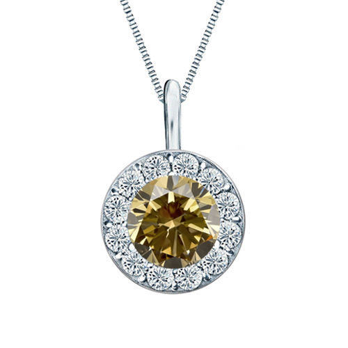 Diamond pendant 1 ct diamonds champagne and white, white gold