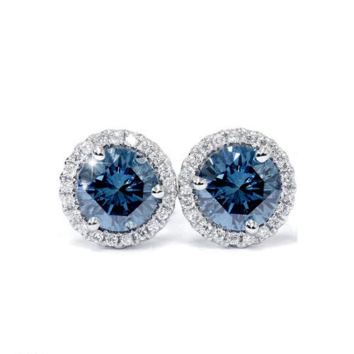 1.60 Ct. Blue Diamond Earstuds - 14K white gold