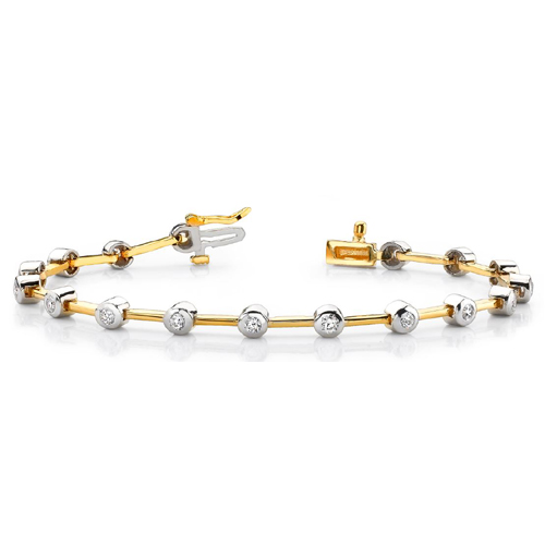1.00 Ctw. Diamond bracelet 14K 2 Tone gold
