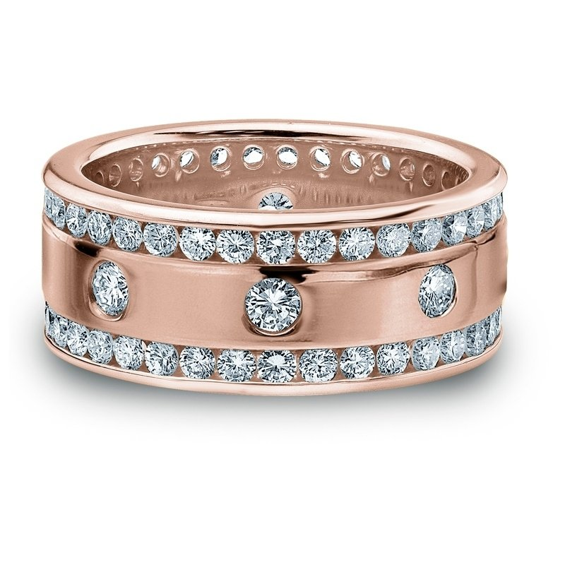 2.00 CT ROUND WHITE DIAMOND MEN'S RING ROSE GOLD