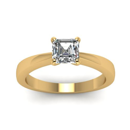 Solitaire 0.50Ct. D/SI1 Diamant Bague de Or jaune 14K GIA Cert.