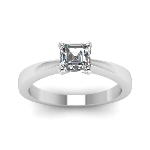 Solitaire 0.50Ct. D/SI1 Diamant Bague de Or blanc 14K GIA Cert.