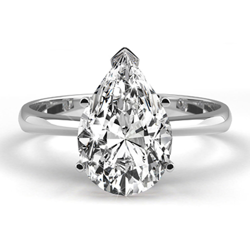 Solitaire 0.50 Ct. Blanc Diamant Bague de Or blanc 14K D SI1