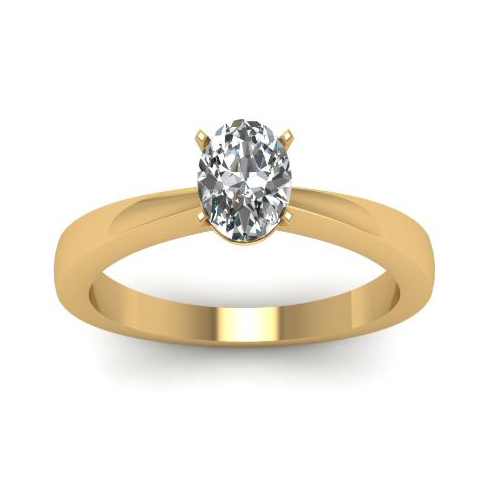 Solitaire 0.50 Ct. Ovale Diamant Bague de Or jaune 14K D/SI1