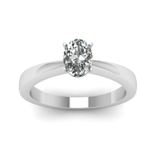 Solitaire 2.00 Ct. Ovale Diamant Bague de Or blanc 14K D/SI1
