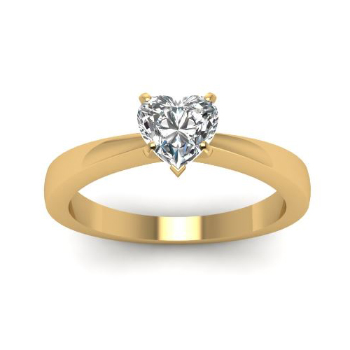 Solitaire 2.00 Ct. Coeur Diamant Bague de Or jaune 14K D/SI1