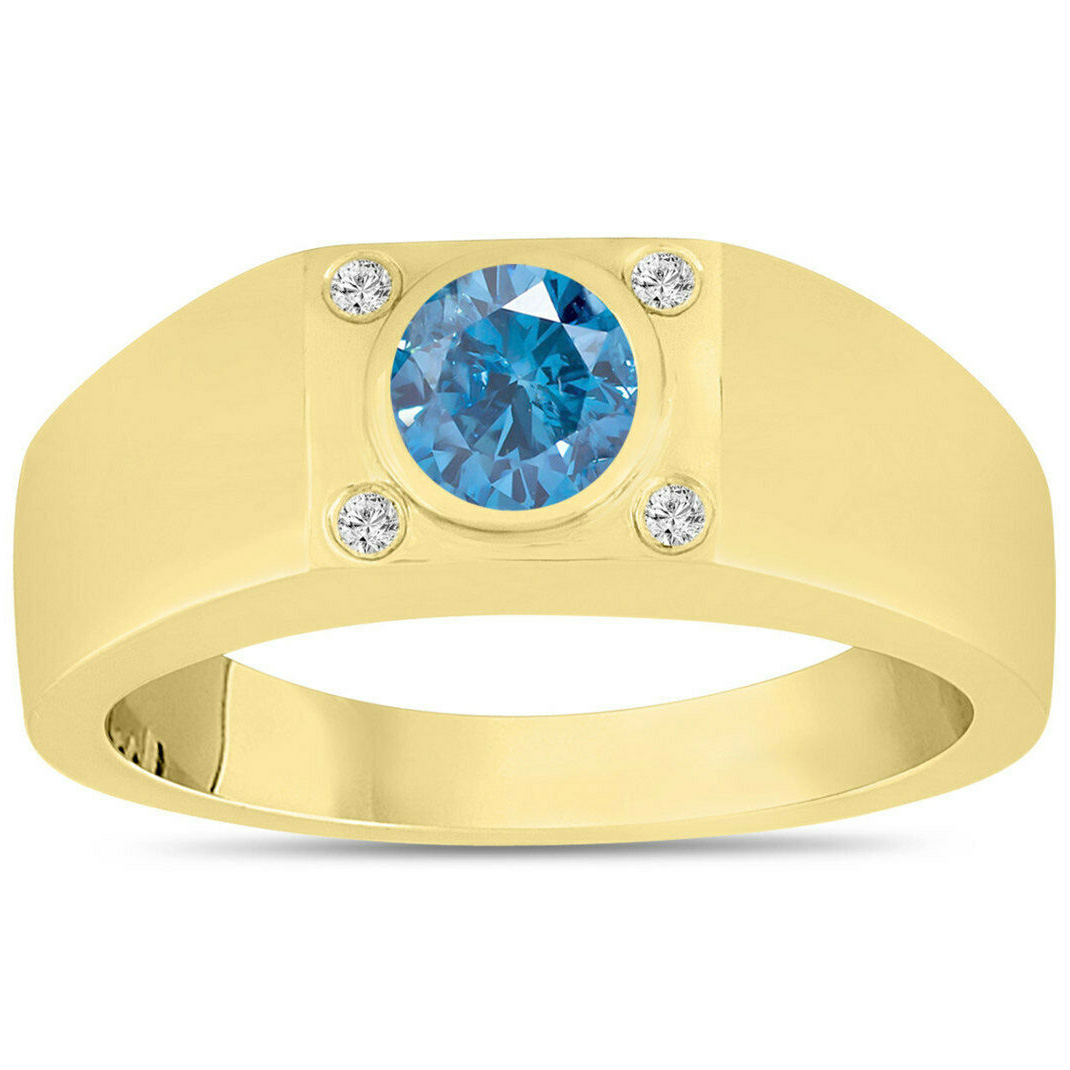 Diamant bague hommes 1.20 carat diamants 14K Or jaune
