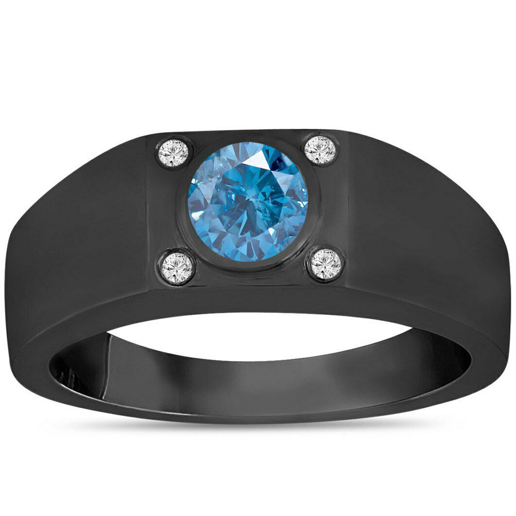 Herren Brillant Diamant Ring 0.62 ct blauer Diamant 14K schwarzes Gold