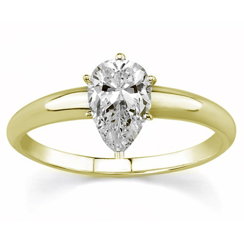 Solitaire 0.50 Ct. Blanc Diamant Bague de Or jaune 14K D SI1