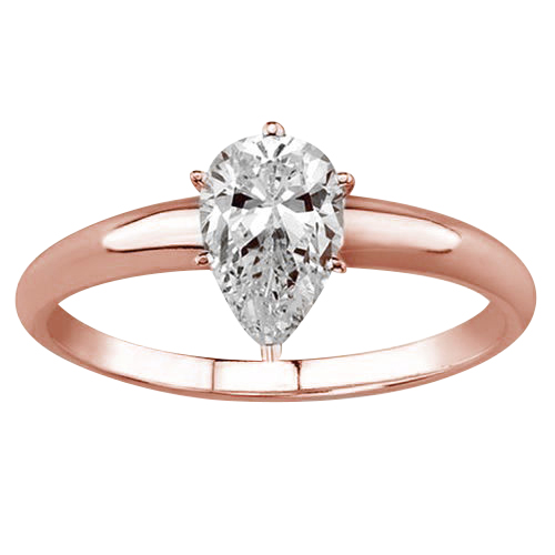 Solitaire 2.00 Ct. Blanc Diamant Bague de Or rose 14K D SI1