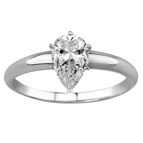 Solitaire 1.00 Ct. Blanc Diamant Bague de Or blanc 14K D SI1