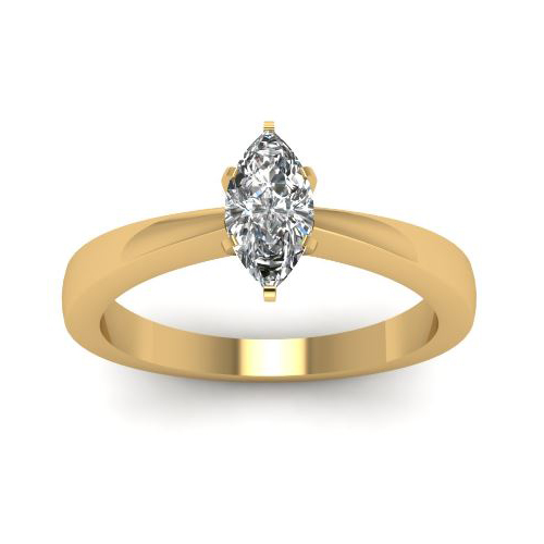 1.00 Ct. D/SI1 MARQUISE CUT DIAMOND RING 14K YELLOW GOLD