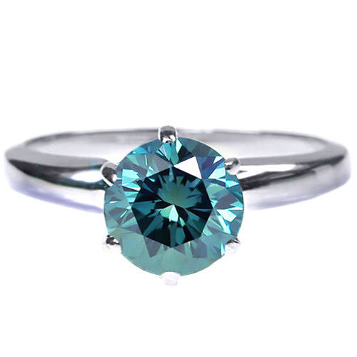 0.75 Quilates Diamante azul Anillo Solitarios 14k blanco